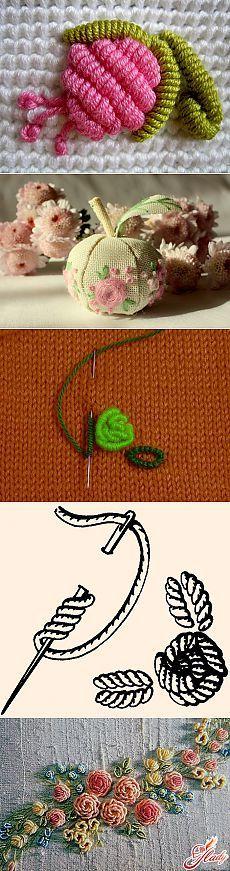 Вышивка по трикотажу и вязанному полотну. Очень красиво..