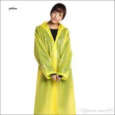 52fb203b6d3 2019 Fashion EVA Raincoats For Women Men Thickened Waterproof Yellow Raincoat  Womens Clear Transparent Camping Waterproof Rainwear Suit From Tracy1977