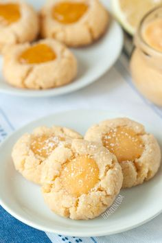 Lemon Curd Thumbprint Cookies  We like these. These are nice with jam as well.