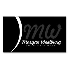 White Wave Professional Monogram Business Cards. Make your own business card with this great design. All you need is to add your info to this template. Click the image to try it out!