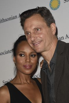 """Kerry Washington and Tony Goldwyn pose on the red carpet during the """"Scandal-ous!"""""""