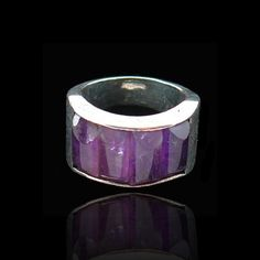 ANTONIO PINEDA RING TAXCO SILVER AND AMETHYST BARS