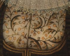 Detail on bodice of portrait of lady and her two children by Paul van Somer.