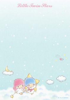 Sanrio Little Twin Stars Memo w/ Stickers Sanrio Wallpaper, Star Wallpaper, Kawaii Wallpaper, Cute Backgrounds, Cute Wallpapers, Sanrio Hello Kitty, Sanrio Characters, Little Twin Stars, Stationery Paper