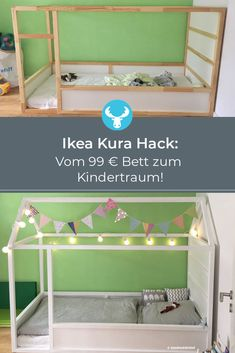 Ingenious Ikea hack to imitate: Ikea Kura bed with roof to build yourself – complete DIY instructions. Informations About Ikea Kura Hack: Ein Kinderbett mit Dach zum selber bauen Pin … Diy Ikea Hacks, Ikea Kura Hack, Ikea Hackers, Kura Bed Hack, Ikea Hack Kids, Cama Ikea Kura, Diy Hanging Shelves, Floating Shelves Diy, Diy Home Decor Projects