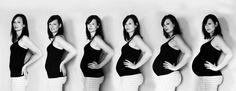 My pregnancy progression! Unique maternity photos. Maternity progression picture. Pregnancy photo month by month. Black and white maternity photo. Pictures of mom all through pregnancy.