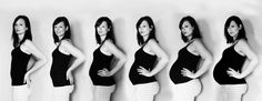 My pregnancy progression! Unique maternity photos. Maternity progression picture. Pregnancy photo month by month. Black and white maternity photo. Pictures of mom all through pregnancy.
