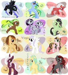 my little pony zodiac - Google Search- This may be the first time I enjoy being a Capricorn, besides knowing I was born on the month that begins the year and wasn't added by some famous guy.