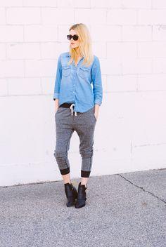 CA UTE -- Booties denim binge 15 Ways to Sport Jogging Pants Like a Fashion Pro | StyleCaster