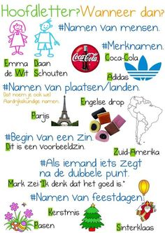 Hoofdletters en leestekens Watch your spelling. Learning To Be, Learning Activities, Learn Dutch, Dutch Language, School Posters, School Hacks, Primary School, Kids Education, Homeschool