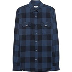 CLOSED Plaid Black and Blue // Checkered cotton shirt ($165) ❤ liked on Polyvore featuring men's fashion, men's clothing, men's shirts, men's casual shirts, mens checked shirts, mens straight hem shirts, mens cotton shirts, mens straight hem long sleeve shirts and mens blue plaid shirt