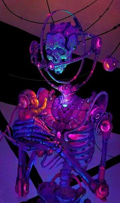 Cyberpunk skeleton art poster, graphic design illustration, android robotic cyborg man, in futuristic cyberpunk fashion costume scifi tech outfit, neon noir concept art male character design matte painting illustration artwork, dark, blade runner inspired purple neon fantasy cyborg man, cyberpunk inspiration ideas Cyberpunk Art | Киберпанк
