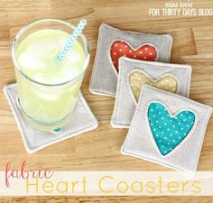 Simple Fabric Heart Coasters. These coasters will show your coffee table some love. They will make great hostess gifts any time of the year, And since they're so small, you can use up any small scrap fabric you may have left over. See how to do it