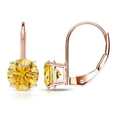Certified 14k Rose  Gold 4-Prong Basket Lever back Round Yellow Diamond Stud Earrings 1.50 ct. tw. (Yellow, SI1-SI2)