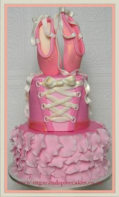 Ballerina Cake with fondant Ballet slippers www.sugarandspicecakes.co.nz