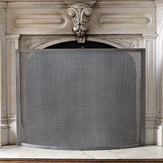 "Fireplace Screen #westelm $279 plus shipping • Iron in brushed silver finish. • 42.5""w x 8.75""d x 32""h."