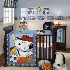 Snoopy and woodstock playing baseball, soccer, basketball, and football in your nursery. Blue baby bedding is perfect for infant boys. Team Snoopy crib bedding by Lambs & Ivy. Baby Boy Nursery Themes, Nursery Room Decor, Boys Room Decor, Baby Boy Rooms, Baby Boy Nurseries, Nursery Ideas, Bird Nursery, Room Baby, Bedroom Wall
