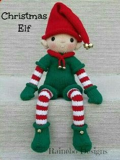 This Christmas Elf with his darling face is knit in-the-round and the arms legs body and head are all one piece. 10 tall Christmas Elf is worked in worsted wt. Knitted Christmas Decorations, Knitted Christmas Stockings, Christmas Toys, Christmas Ornaments, Xmas, Christmas Things, Red Christmas, Crochet Toys Patterns, Stuffed Toys Patterns
