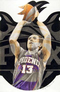 Steve Nash Fan Art by Robert McFetridge Basketball Diaries, Ring Of Honor, Phoenix Suns, View Photos, Fan Art, Baseball Cards, Fanart