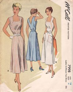 McCall 7908 1950s Misses SUNDRESS Pattern Flared Skirt Low V VBack womens vintage sewing pattern  by mbchills