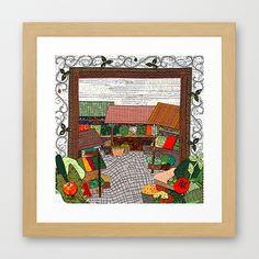 Vegetable market Framed Art Print