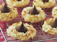 HERSHEY'S KISSES Milk Chocolates complete these Macaroon Cookies.
