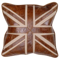 Leather cushion cover with Union Jack 48cm.  £118 from The Richard Harvey Collection http://www.rhcollection.co.uk/products/rugs/leather-union-jack-cushion-cover#