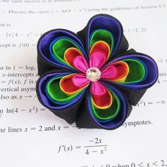 Items similar to Reserved Rainbow LoliPop Tsumami Kanzashi Flower Hair Clip on Etsy