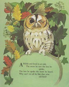Sale - Nursery Rhymes from vintage book - handmounted Nursery Rhymes Poems, Nursery Songs, Owl Nursery, Nursery Decor, Wall Decor, Pomes, Vintage Nursery, All Nature, Oak Tree
