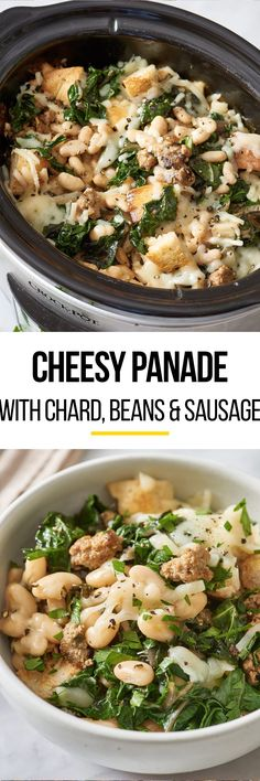 This EASY cheesy panade (French Bread Stew) is made in your slow cooker! Part classic stuffing, part classic french onion soup, it's like a crockpot casserole combination of the two. This savory feast cooks all day in your crock pot, making it perfect for a quick, hearty, comfort food weeknight meal, or even for weeknight dinners for a crowd. Full of bread, ground pork sausage, beans, veggies like swiss chard garlic, and onions, cannellini beans, mozzarella cheese, and chicken broth.