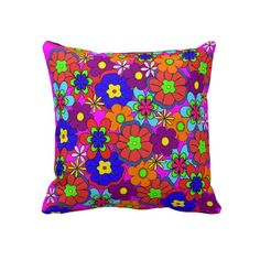 Hippy Retro Flowers Throw Pillow - $71.95 - Hippy Retro Flowers Throw Pillow - Colorful retro style flowers, hippy style in bright colors! Large petal flowers in a jumbled assortment. 70s Hippy look, great throwback item!