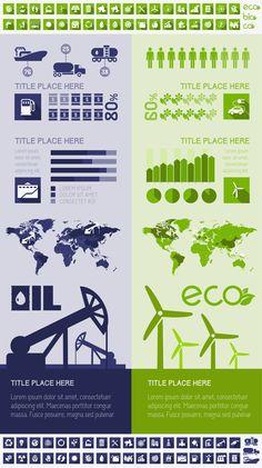 Ecology Flat Infographics Templates (Vol.1) by Andrew Kravchuk, via Behance