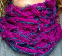 Fuchsia and blue jeans...on my arm knitting