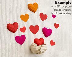 Coeurs de fond pour les sculptures 3D Papercraft kit PDF