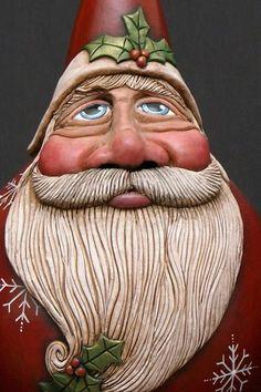 Santa Gallery - Bev's Hand Crafted Gourds = love her originality!