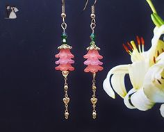 Extra Long Earrings, Summer Jewelry Trend ~ Best Romantic Gifts For Girls 2017 ~ Bridesmaids Jewelry For Rustic Wedding ~ Pink Earrings - Bridesmaid gifts (*Amazon Partner-Link)