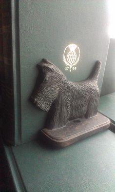 Vintage cast iron black Scottie dog antique doorstop or bookend via Etsy