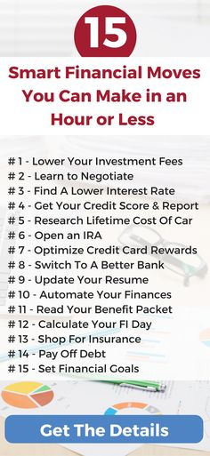 15 Smart personal finance tips and moves you can make in under an hour or less. Each of these financial planning tasks should be worth over $100 an hour!