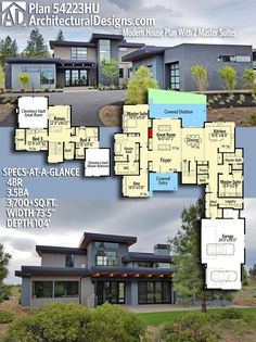 Architectural Designs Modern House Plan 54223HU has 4 beds   3.5 baths   3,700+ square feet of heated living space. *make the pantry & laundry room bigger, reduce the size of the master off the garage and turn it into a guest suite*