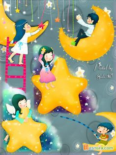 Sun Moon Stars Clip Art | moon fairy psd children s clipart with the moon on