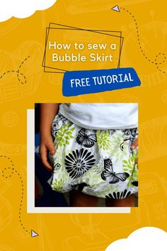 How to sew a Bubble Skirt FREE tutorial (size 2T). The designer will show you how to make this lovely poofy bubble skirt in no time at all. It's a playful and fun skirt that is perfect for some playtime in the backyard, a trip to the park, or even dressy enough to wear to a birthday party. The way this bubble skirt has been made by the designer with elastic actually helps to keep it poofy. The two layers aren't just sitting on each other. The designer recommends 100% cotton apparel fabrics that Skirt Sewing, Skirt Patterns Sewing, Sewing Patterns For Kids, Sewing For Kids, Free Sewing, Types Of Patterns, Bubble Skirt, Skirt Tutorial, Modern Kids