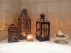 Pier 1 Imports lanterns give a relaxing feel in a bathroom