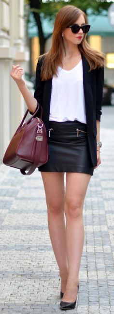 Topshop top // H&M skirt // Zara blazer // Jimmy Choo heels