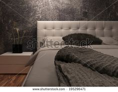 White huge bed standing against dark black wall - stock photo Apartments For Sale, Common Area, Built In Storage, Upcycled Furniture, Bedroom Apartment, Decoration, Home And Living, Living Area, Home Accessories