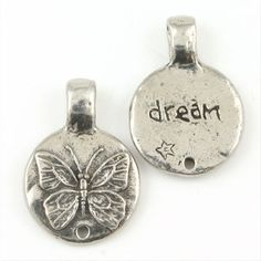 Green Girl Dream Butterfly Pewter Charms