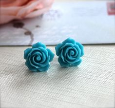 A Sweet Turquoise Blue Flower Ear Post Earrings. For Her. Womans earrings. Earrings for Teens. Earrings for Girls. Bridesmaid Earrings.. $9.50, via Etsy.