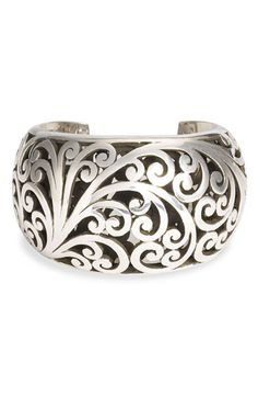 Lois Hill Hand Carved Sterling Scrollwork Cuff -1 5/8'' at widest. Sweeping scrolls appear on both sides.