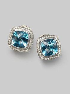 David Yurman blue topaz, diamond & sterling silver button earrings