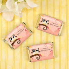 Owl Girl - Look Whooo's Having A Baby - 20 Mini Candy Bar Wrapper Sticker Labels - Personalized Baby Shower Favors