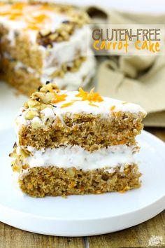 Gluten-Free Carrot Cake w/ Lightened-Up Cream Cheese Frosting #glutenfree #healthy
